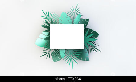 Paper horizontal rectangle with tropical palm leaves. 3d rendering - Stock Image