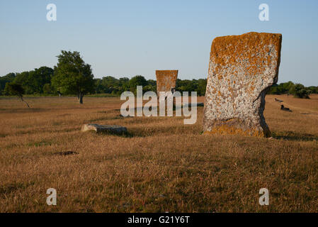 Megaliths and mill, Isle if Oeland, province Kalmar, Sweden - Stock Image