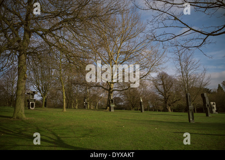 Sculptures at the Yorkshire Sculpture Park near the YSP Learning and Cafe. - Stock Image