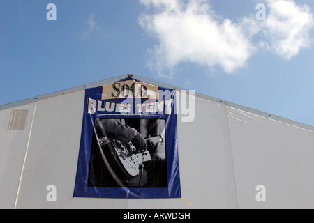 Blues Tent sign at the New Orleans Jazz & Heritage Festival - Stock Image