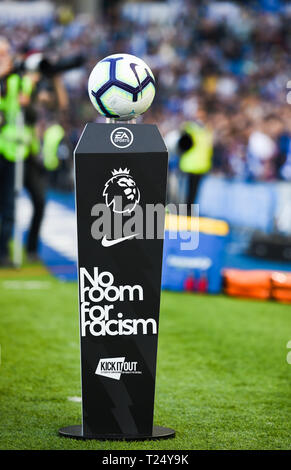 The Premier Leagues No Room For Racism campaign  during the Premier League match between Brighton & Hove Albion and Southampton at The American Express Community Stadium . 30 March 2019 Photograph taken by Simon Dack  Editorial use only. No merchandising. For Football images FA and Premier League restrictions apply inc. no internet/mobile usage without FAPL license - for details contact Football Dataco - Stock Image