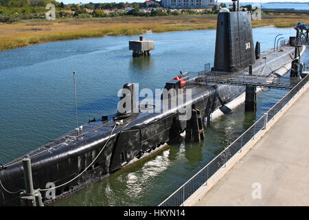 submarine USS Clamagore docked at Patriot's Point Naval & Maritime Museum, Charleston, South Carolina, USA - Stock Image