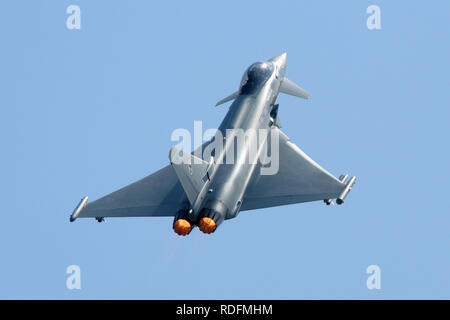 RAF Typhoon F2 from 29 Squadron climbing out with afterburner during the 2006 RAF Waddington air show. - Stock Image