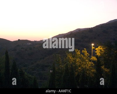 SPAIN Sunset over the Sierra de Tejeda mountains   in the Axarquía region of Southern Spain Europe Spanish sunsets dusk evening - Stock Image