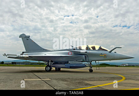 French Air Force Dassault Rafale B 4-FU SPA 81 fighter aircraft, static display on the Payerne military, Payerne, Switzerland - Stock Image
