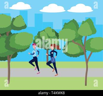 women running with sportwear avatar cartoon character park landscape vector illustration graphic design - Stock Image