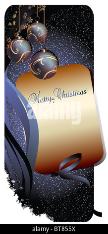 Merry Christmas Background Banner Blue - Stock Image