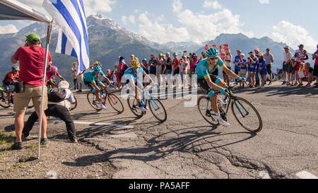 Alejandro Valverde Tour de France 2018 cycling stage 11 La Rosiere Rhone Alpes Savoie France - Stock Image