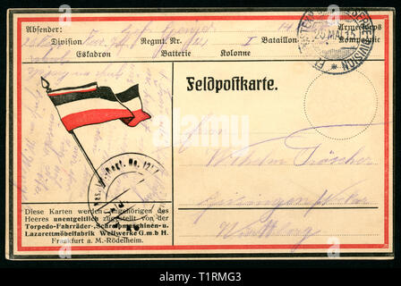 Germany, Baden-Württemberg, Geisingen, Freiberg, WW I, patriotic forces post service postcard with the black-white-red flag of the German Empire,  this kind of postcard was donated to all soldiers of the army by the company Weilwerke GmbH, Frankfurt a. M., this postcard was sent 25. 05. 1915. , Additional-Rights-Clearance-Info-Not-Available - Stock Image