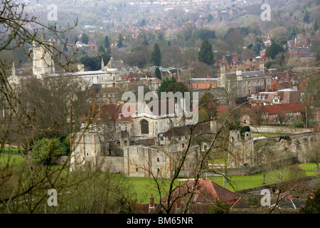 Wolvesey Palace and Winchester College from St Giles Hill, Hampshire, UK - Stock Image