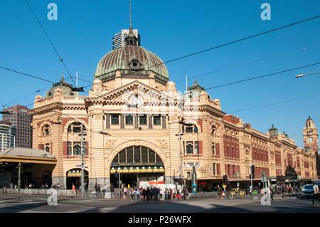 Flinders Street Station, hub of the metropolitan railway network in  Melbourne, Australia, following repairs in May 2018 - Stock Image