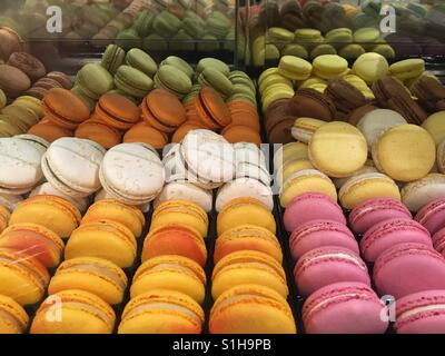 Rows of Macaroons on display in store - Stock Image