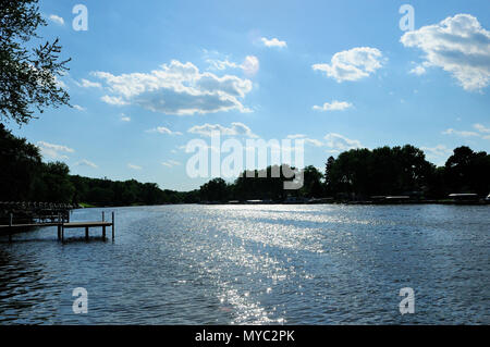 View of Fox River in Northern Illinois,USA. - Stock Image