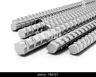 Iron construction bars isolated on white background. 3D illustration. - Stock Image