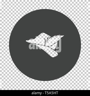 Hunter hat with feather  icon. Subtract stencil design on tranparency grid. Vector illustration. - Stock Image
