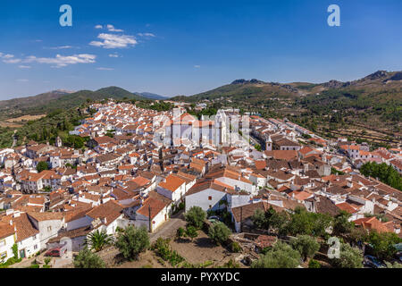 Panorama of Castelo de Vide, with rooftops and landscape. Santa Maria da Devesa Church and Dom Pedro Square seen from Castle Tower. Castelo de Vide, A - Stock Image
