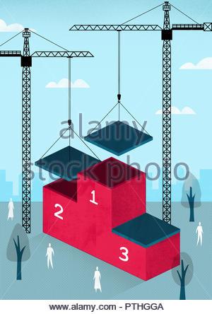 Cranes putting roofs on winner's podium - Stock Image