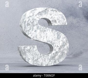 Concrete Capital Letter - S isolated on white background. 3D render Illustration - Stock Image