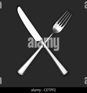 A still life shot of a knife and fork crossed on a gray background (any colour background available on request) - Stock Image