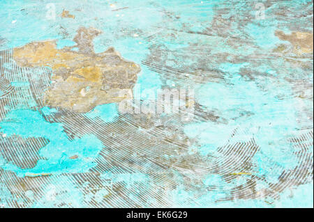 A worn blue stone floor as an abstract background image - Stock Image