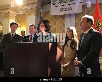 Garden City, New York, USA. 3rd November 2015. Democrat MADELINE SINGAS claims victory over Republican Kate Murray - Stock Image
