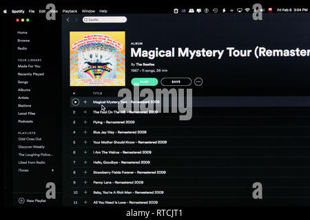 The Beatles album Magical Mystery Tour Spotify webpage - Stock Image