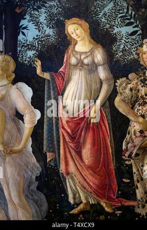 Venus standing in her arch, Primavera, Spring, detail, Sandro Botticelli, circa 1482, Galleria degli Uffizi, Uffizi Gallery, Florence, Tuscany, Italy - Stock Image