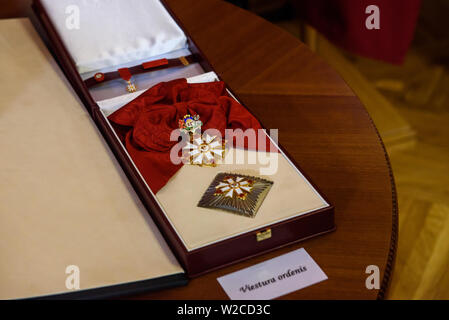 RIGA, LATVIA. 8th of July 2019. Egils Levits, Newly elected President of Latvia, participation in the awarding ceremony of the highest state awards. Parliament of Latvia, Riga. Credit: Gints Ivuskans/Alamy Live News - Stock Image