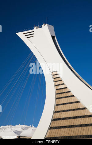 The Montreal Tower at the Olympic Stadium park, Montreal, Quebec, Canada - Stock Image