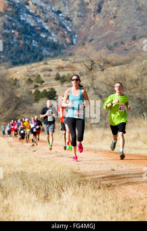 Runners competing in the Pikes Peak Road Runners Winter Series II race held at Norris Penrose Event Center in Bear - Stock Image