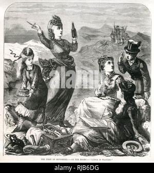 Group of women sit on the Moors having a picnic and painting the view. - Stock Image