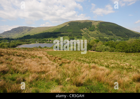 View of Loch Earn and Lochearnhead, Perthshire from the road to the south of the loch - Stock Image