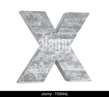 Concrete Capital Letter - X isolated on white background. 3D render Illustration - Stock Image