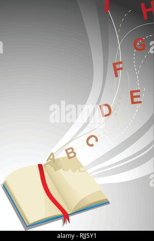 A vector illustratio of Book and Alphabet Letters - Stock Image