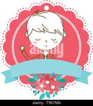 Stylish boy blushing cartoon outfit jacket waving hello portrait  floral bloom frame ribbon banner vector illustration graphic design - Stock Image