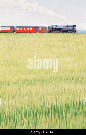 Wandmalerei an einer Hauswand; Motiv Dampflokomotive. - Mural painting on a house wall; motif steam locomotive. - Stock Image