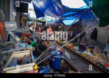 Maeklong Railway Market - Stock Image
