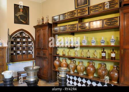 Belgium, Western Flanders, Bruges, historical centre listed as World Heritage by UNESCO, Sint Jan (St. John's) Hospital, The old pharmacy - Stock Image