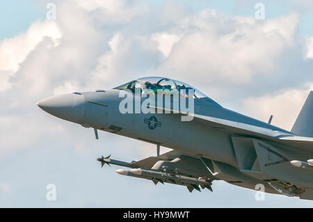 The Boeing F/A-18E and F/A-18F Super Hornet are twin-engine carrier-capable multirole fighter aircraft variants - Stock Image