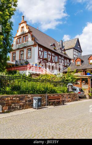 The pub 'Winzerkeller' in Rüdesheim am Rhein, Hesse, Germany. 22 May 2017. - Stock Image