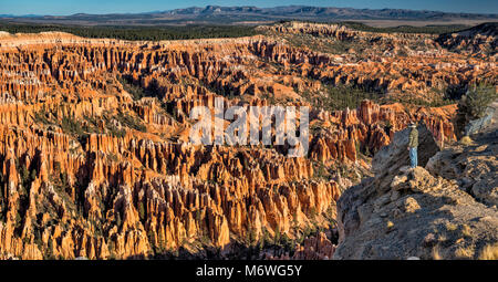 Bryce Amphitheater at sunrise, view from Bryce Point, Bryce Canyon National Park, Utah, USA - Stock Image