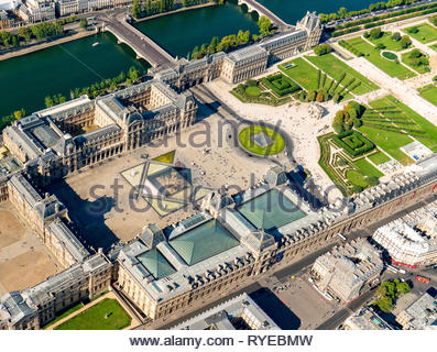 Aerial view of museum Louvre whit the Pyramide du Louvre and Place du Carrousel in Paris, France - Stock Image