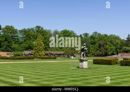 Landscaped gardens to the rear of Harrowden Hall, an 18th century historic house, now home to Wellingborough Golf Club, Northamptonshire, UK - Stock Image