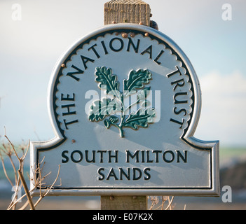 South Milton Sands National Trust sign in South Devon - Stock Image