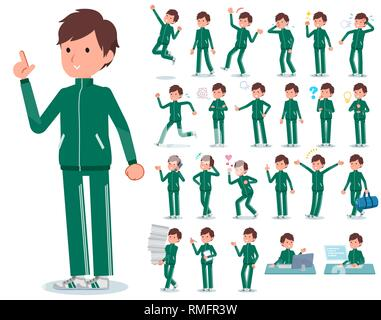 A set of school boy in sportswear with who express various emotions.There are actions related to workplaces and personal computers.It's vector art so  - Stock Image