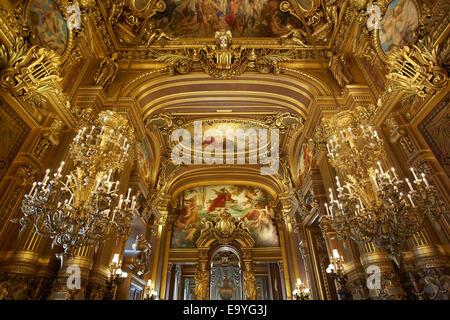 Opera Garnier interior in Paris, France - Stock Image