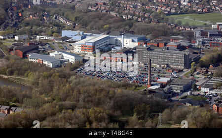 aerial view of Tameside & Glossop Integrated Care NHS Foundation Trust near Stalybridge at Ashton-under-Lyne, Greater Manchester OL6 - Stock Image
