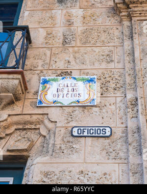 Colourful tile street sign found in the old district of Havana Cuba. - Stock Image