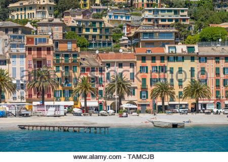 Beach at  Santa Margherita Ligure. - Stock Image