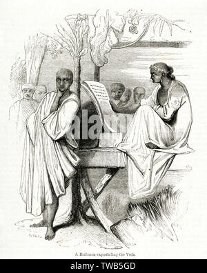 Brahmin or Hindu priest expounding the Veda, India.      Date: 1843 - Stock Image